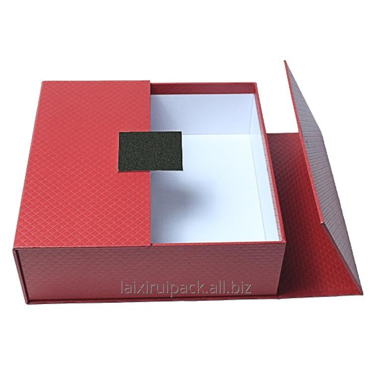 Buy Luxury red and black fancy paper rigid cardboard gift box for retailer with two doors