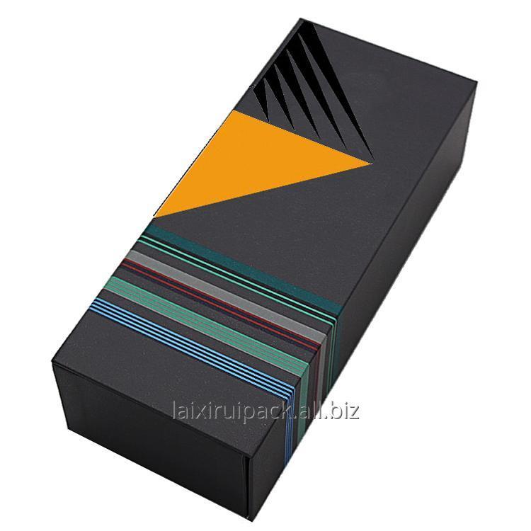 Buy Custom logo designed rectangular shape folder paper box spot UV coating socks packaging