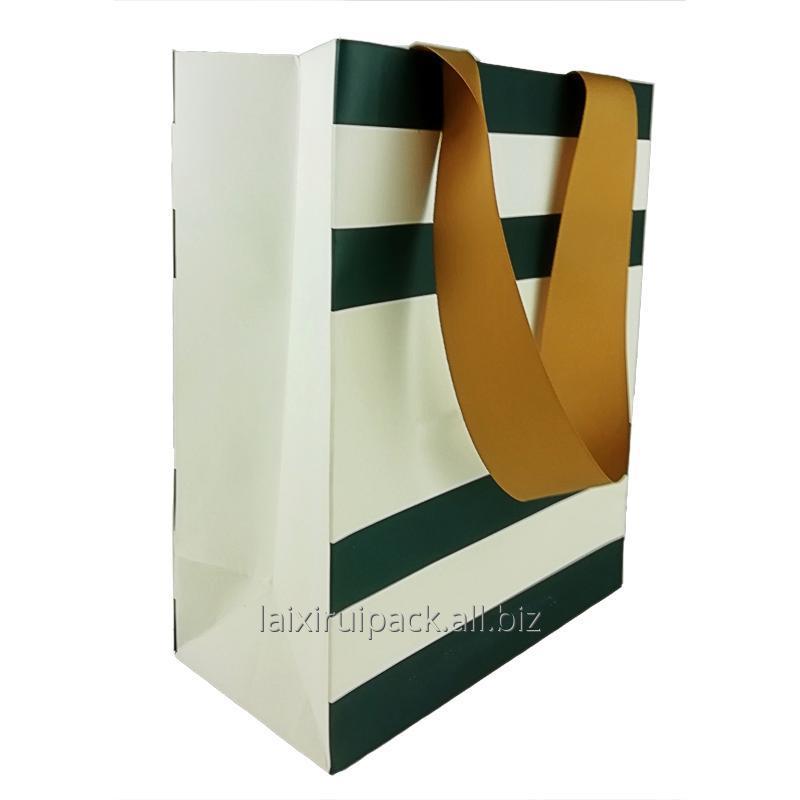 Buy Luxury Custom Logo Printed Retail Clothing Packaging Paper Bag with flat ribbon