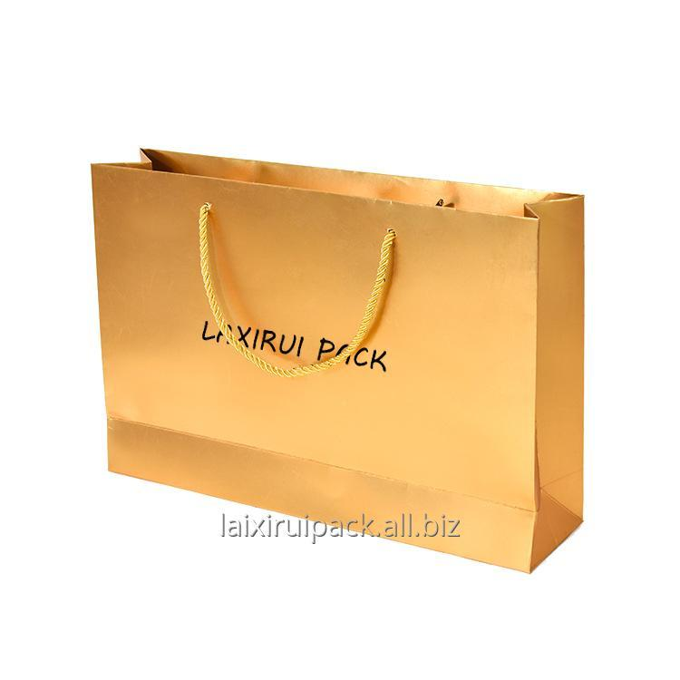 Buy Custom Luxury GOLD color fancy paper bag for tea store packing With Logo Print