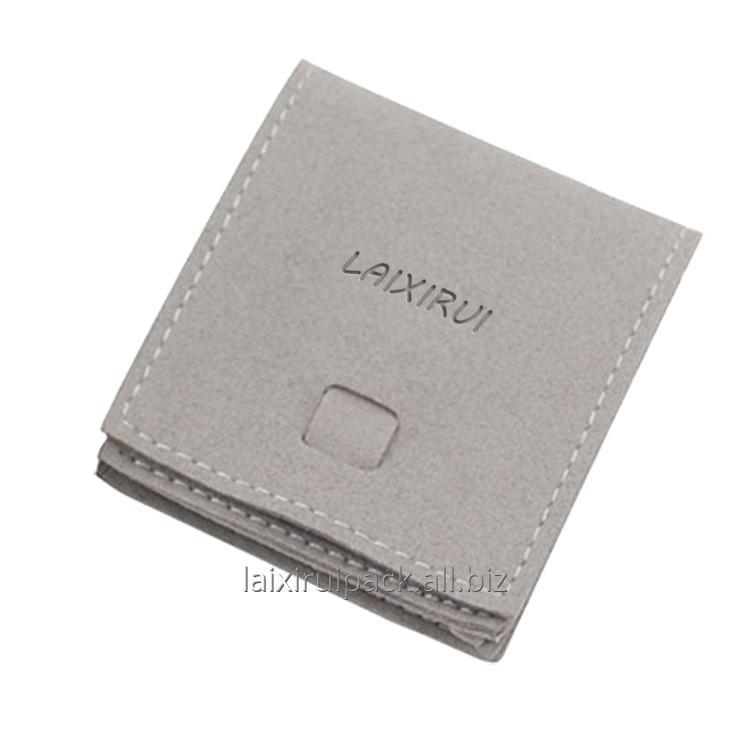 Buy Custom gift box accessory luxury gray color microfiber jewelry packing bag 70 X 70 MM