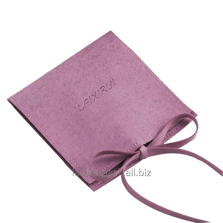 Buy Custom luxury jewelry box accessories purple color microfiber packing bag with string closure