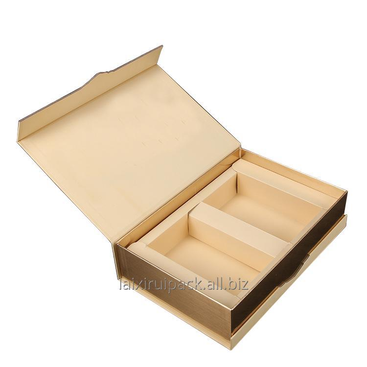 Buy Gold hot stamping Luxury book style cardboard paper box with magnetic flap lid and insert for healthcare