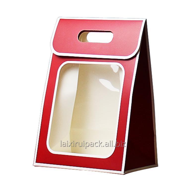 Buy Custom die cut handle flower paper box with clear PVC window