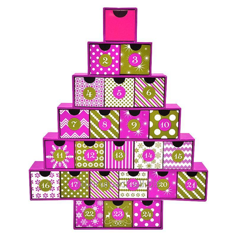 Buy Rigid cardboard Paper box Christmas tree Countdown calendar gift box small