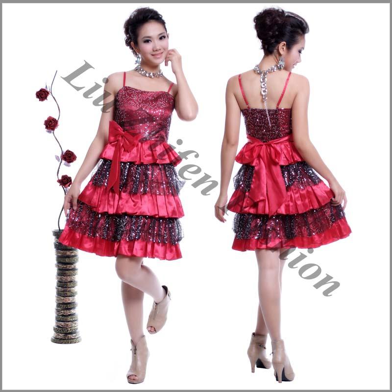 Buy Hot sale fashion design short satin beading evening dress H9386
