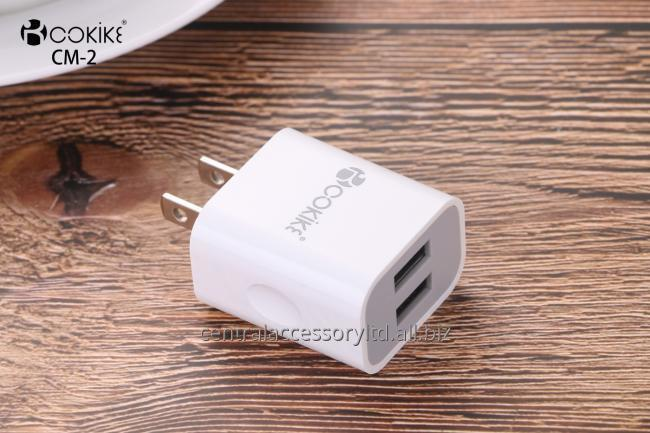 CM-2 Smart Dual USB Charger Travel Chargers Wholesalers US Plug Power Adapter With Charging Cable For Cell phone and Tablets