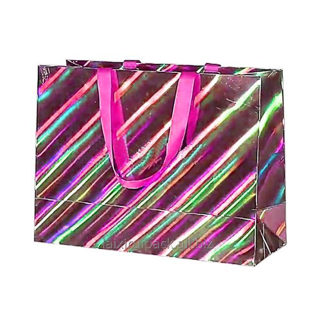 pink holographic paper bag