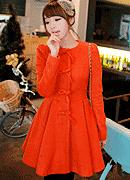 全新改版秋冬韩版蝴蝶结扣修身橘红色毛呢大衣