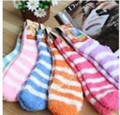 条纹保暖型加厚毛巾袜