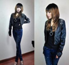 2011秋冬装新款女装时尚韩版新品别针短款显瘦黑色皮衣