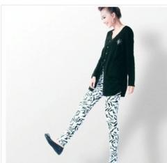 拉链豹纹女式细腿铅笔裤