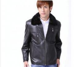 Genuine leather man jacket