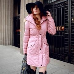 莲藕袖连帽真毛领收腰长款棉衣