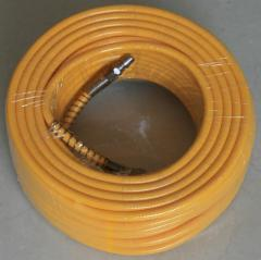 Yellow air hose with fittings