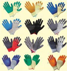 Latex crinkle coated working gloves