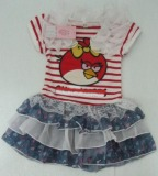 Pretty Girl′s Dress Cartoon Birds