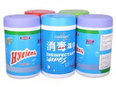 Wipes in container