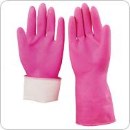 Pink dipped flocklined household latex gloves