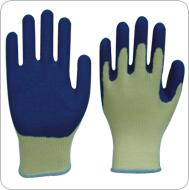 Blue latex coated yellow cotton working gloves