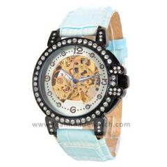 Blue PU belt with pin buckle Automatic Watch