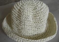 纸绳钩针帽