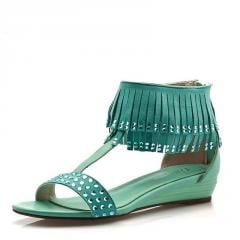 时尚休闲流苏水钻平底女鞋子 平跟凉鞋女