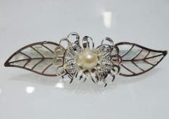 淑女气质叶形嵌珍珠发夹