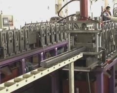 Rack upright roll forming machine with on-line