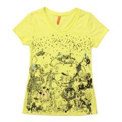 女手绘人物印花短袖T恤