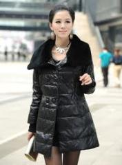 Women's Leather Down Coat