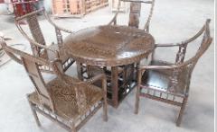 鸡翅木1米圆形茶台