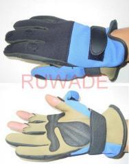 Fold back neoprene fishing gloves
