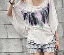 春装蝙蝠袖印花时尚靓丽短袖女装T恤