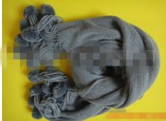 海纳HNW2012007经编杨梅球中长款女式冬季围巾