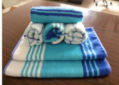 竹棉色织毛巾