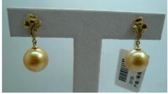 珍珠耳饰/耳环/耳钉 南洋金色珍珠