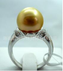 珍贵金色南洋珍珠戒指,奢华首饰