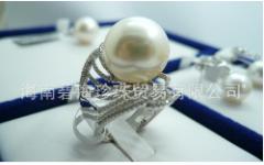 奢华大溪地珍珠镶钻戒指