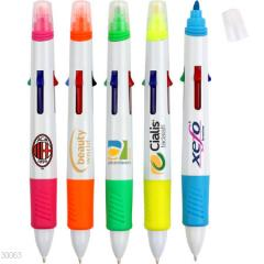 4 color ball pen with highlighter