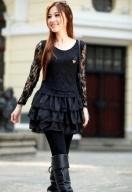 蕾丝镂空气质连身裙 黑色