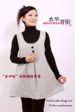 防辐射双扣时尚孕妇裙-本色白