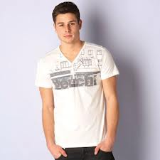 Men V Neck Cotton T-Shirt (MT000020)