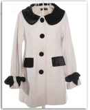 Ladies Winter Long White Wool Coats (1011201)