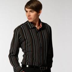 8019 商务休闲施派乐黑底彩条长袖衬衫