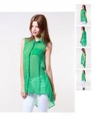 Ladies′ Shirt Tunic Sheer Pleated Top