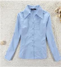 Blue Long Sleeves Lady Blouse