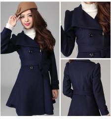 晴天季节秋冬款羊毛呢外套韩版大翻领修身呢大衣