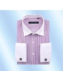 Shirt for Man with Stripe Pattern and French Cuff
