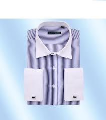 Men Formal Stripe Long Sleeve Shirts with French